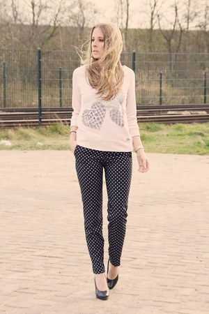 light pink Sao paulo sweater - navy H&M pants - black van haren heels