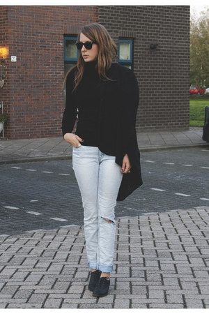 black Primark shoes - sky blue c&a jeans - black H&M top