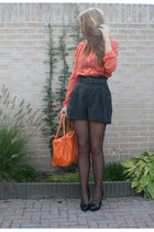 black H&M shorts - carrot orange Primark bag - salmon Primark blouse