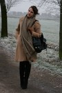 Camel-h-m-coat-camel-zara-scarf-dark-brown-h-m-gloves-black-primark-boots-