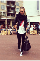 white american flag Nancy Mode top - black Zara jeans - black H&M jacket