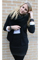 black blazer - black skirt - black scarf - white shirt - black boots