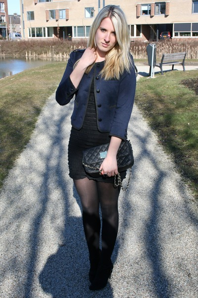 blue H&M jacket - black dress