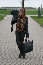 tawny Label scarf - black Nelly shoes - black Zara jeans - black H&M jacket