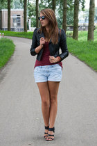 black leather H&M jacket - light blue H&M shorts - brick red H&M top