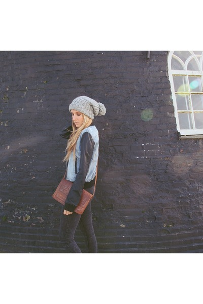 dark gray denim pieces jeans - heather gray beanie Primark hat