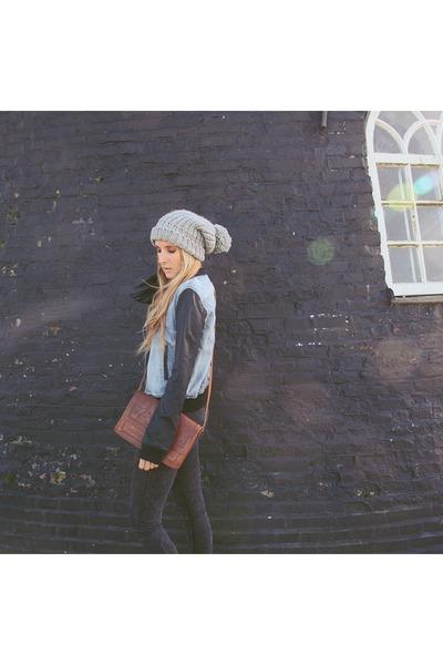 dark gray denim pieces jeans - heather gray beanie Primark hat
