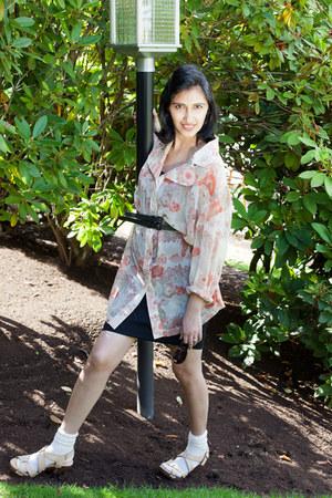 eggshell thrifted blouse - beige Ruby heels - black Forever 21 skirt