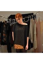 gold sequins Tea n Rose dress - black oversized sheer top