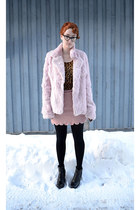light pink pink rabbit fur coat - bronze leopard print shirt