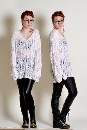 black boots - white sweater - black faux leather pants