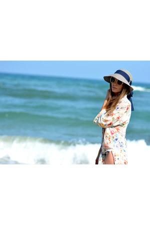 white Bershka shirt - navy Roxy flats - H&M swimwear