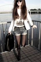 blazer - bag - denim shorts