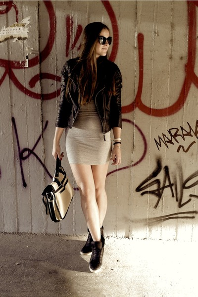 black leather jacket - heather gray dress - black hiddenwedge sneakers
