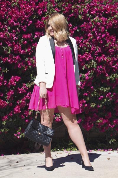 white Charter Club blazer - hot pink Sanctuary dress