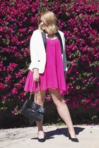 white Charter Club blazer - hot pink Sanctuary dress