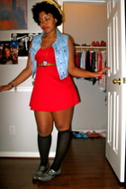 oxford shoes - red Forever 21 dress - straw feather hat - black knee high socks