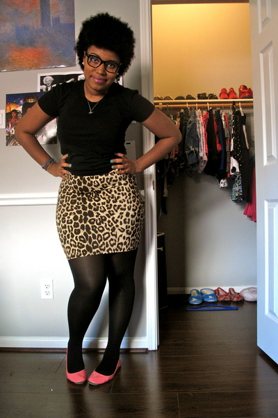 cheetah slip dress - black tights - black rimmed Urban Outfitters glasses - blac