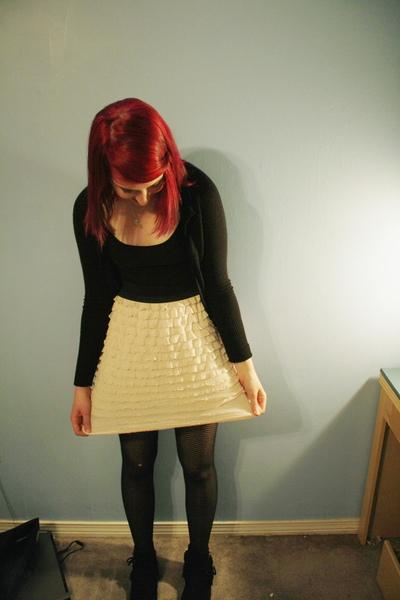black top - beige Target skirt - black tights - black Minnetonka boots - black s