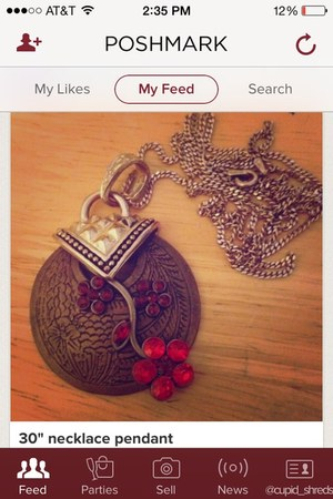 ruby red mixed metals cupidshreds necklace