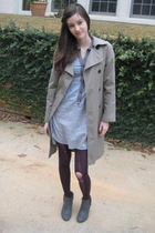 gray dress - beige Gap jacket - purple tights - gray boots