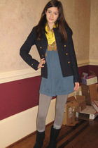 blue Kimchi&Blue dress - gold Gap scarf - Old Navy jacket - gray Forever 21 legg