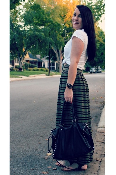 maxi H&M skirt - black Forever 21 bag - white Loft t-shirt