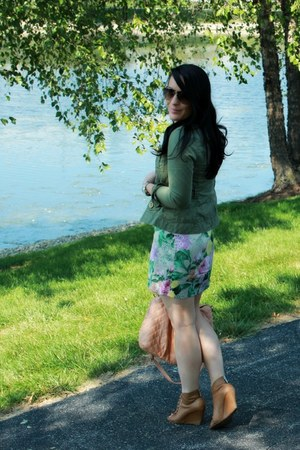 army green Michael Kors jacket - brown Kelsi Dagger shoes - floral H&M dress