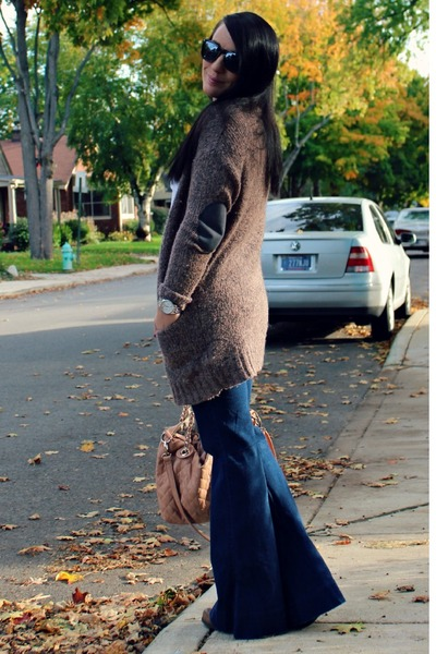 purple H&M cardigan - brown Kenneth Cole boots - flared Gap jeans