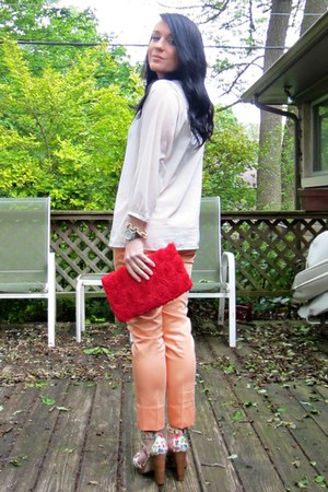 creamsicle H&M pants - red rosette H&M bag - floral stacked H&M heels