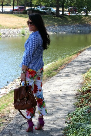 floral thrifted pants - brown H&M bag - aviators Marc by Marc Jacobs sunglasses