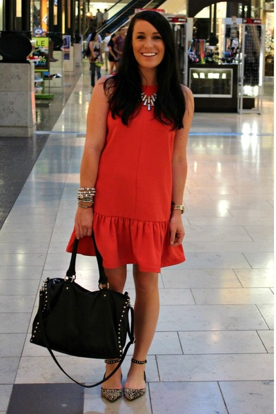 drop waist Topshop dress - printed Zara shoes - black Forever 21 bag