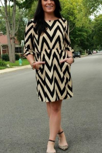 chevron everly dress - studded Zara flats - silver Michael Kors watch