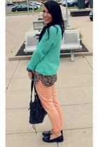 black Aldo bag - mint Forever 21 sweater - creamsicle H&M pants