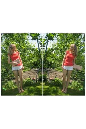 white Zara shorts - bubble gum Orsay blouse