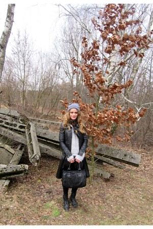 navy Zara jacket - silver Orsay sweater - black cropp town skirt
