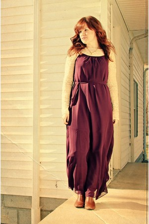 purple maxi dress Forever 21 dress - bronze Target boots