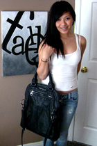 hollister top - Guess destroyed jeans - Zara Trf purse