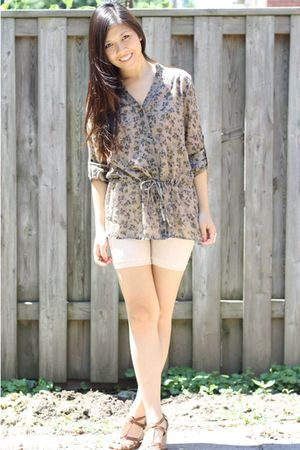 Forever 21 blouse - lace shorts - Aldo shoes