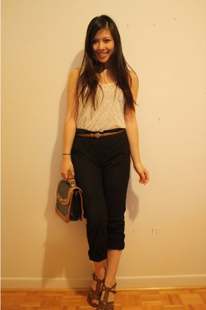 wilfred belt - Aldo shoes - Forever 21 lace top - H&amp;M pants - vintage purse