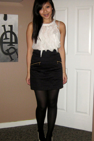 Forever 21 ruffles blouse - H&M skirt - Forever 21 stockings - Aldo shoes - fore