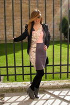 pink H&M dress - black Zara blazer - gray hazel boots