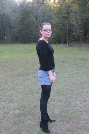 black sweater - black tights - white shorts