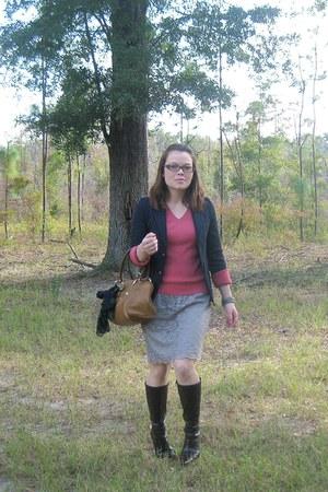 burnt orange Loft sweater - navy blazer - heather gray skirt