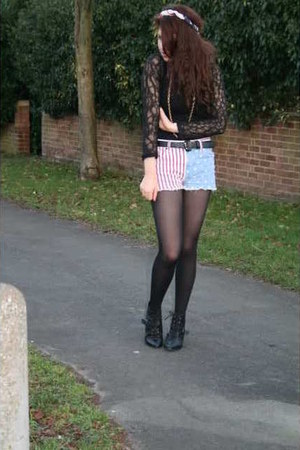 black lace up Topshop boots - red vintage from Ebay scarf - red american flag To
