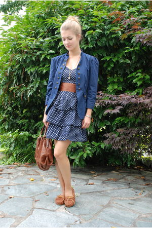 blue Zara jacket - blue H&M dress - orange Hugo Boss bag - orange Minnetonka sho