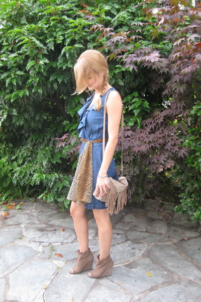 blue H&M dress - brown D&G bag - brown Zara shoes - orange H&M scarf