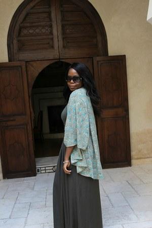 army green Zara skirt - turquoise blue kimono Miss Selfridge jacket