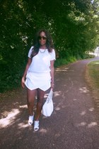 white Chanel bag - white Zara shorts - white Belstaff heels - white new look top