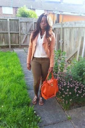 camel Accessorize shoes - tan new look jacket - off white shirt - orange bag